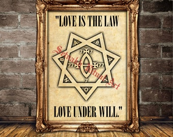 "Babalon seal poster, Aleister Crowley print, Occult art, ""Love is the Law, Love under Will""  #470"