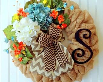 Burlap Wreath, Spring wreath, Summer wreath, Hydrangea wreath, Spring burlap wreath, Country wreath, Front door wreath, wreath with initial