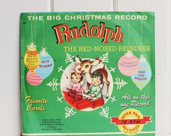 Vintage RUDOLPH RED NOSED Reindeer Children's Record - Vintage Santa Claus, Peter Pan Records