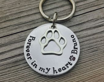 Hand stamped, personalised, pet loss, keyring, keychain. In memory of dog, cat.