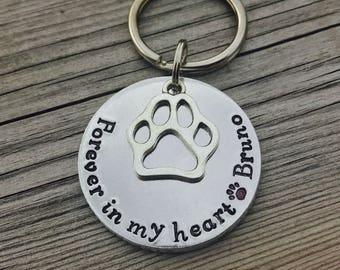 Hand stamped, personalised keyring, pet loss gift, pet memorial gift, dog memorial keyring, cat memorial keyring