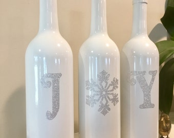 Joy Wine Bottles, Silver Christmas Decorations, Christmas Joy Wine Bottles, Christmas Wine Bottles