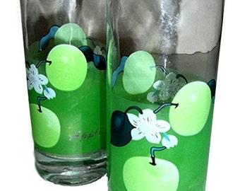 YARD SALE....Set of 2 Green Apple Tumblers / Glasses