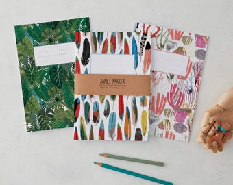 Botanical, Feather, And Coral Notebooks Set Of Three, Botanical Print, Feather Print, Coral Print, A5 notebooks, colourful notebooks