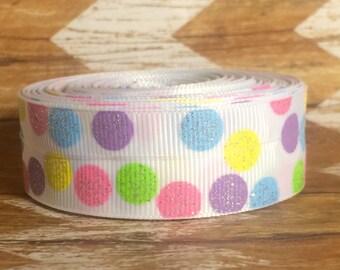 "7/8"" USDR glittery pastel silly dots polka dots grosgrain ribbon"