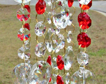 Red Crystal Sun Catcher, Crystal Wind Chime, Glass wind Chime, Gift for Her, Garden Décor, Crystal Gift,  SC9112B
