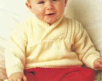 f440b29ff18c Baby Knitting Pattern P1180 Babies Round Neck Long Sleeve Striped ...