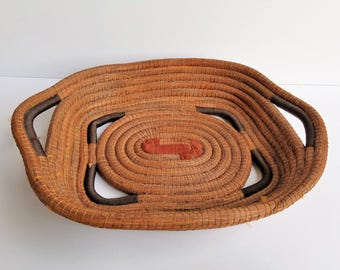 Heavy Woven Pine Needle Shallow Tray Like Basket with End Handles