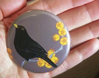 Blackbird & king hawthorn pocket mirror