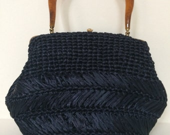 Woven Rafia Navy Blue Vintage Handbag With Tortoiseshell Lucite Top Handle