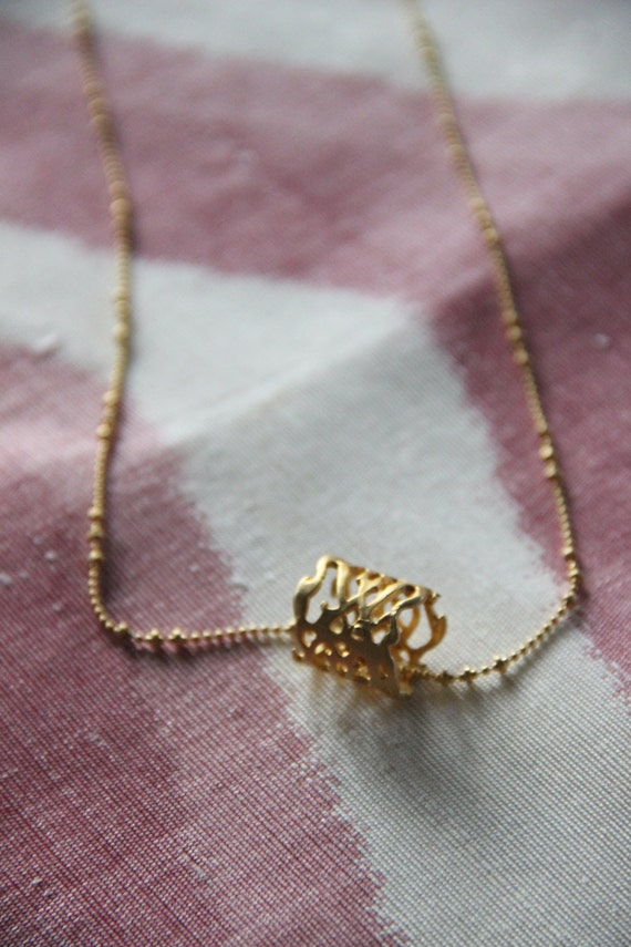 Unique Gold Ball Chain Necklace with Details Gold Ring Pendant - Lenght 30 inches