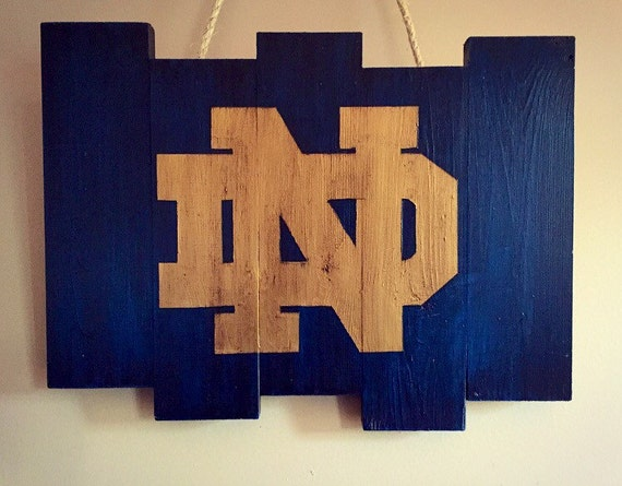 Notre Dame Wood Flag Wood Wall Art Sign Rustic Home Decor