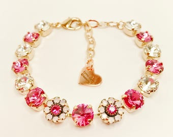 ROSE PINK FLOWERS Swarovski Crystal Bracelet 8mm Chaton Designer Jewelry Pink Crystal Pretty Daisy Adjustable Bracelet LynnsGemCreations