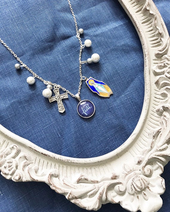 Handlettered Cabochon Fiat Charm Necklace with Coordinating Beads * Catholic Christian Jewelry * Gifts for Her