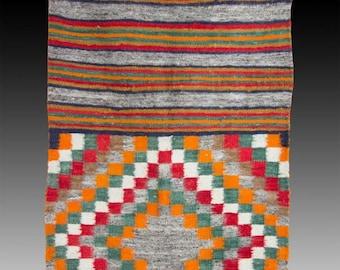Native American, Vintage Navajo Double Saddle Blanket, Ca 1950's #1065