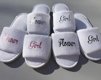 Bridesmaid slippers, flower girl slippers, spa day slippers, personalised slippers, bridal slippers, birthday slippers, personalized slipper