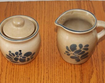 Pfaltzgraff Folk Art Covered Sugar Bowl and Cream Pitcher - Vintage Pfaltzgraff Stoneware Cream and Sugar Set