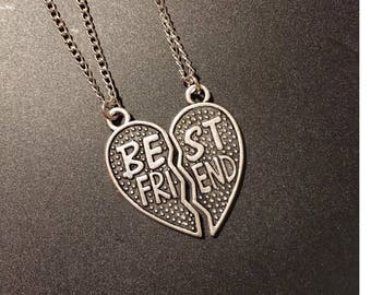 Best friends friendship forever girls 2 in 1 pendant necklace BBF  heart charm