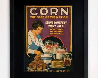 """LARGE 20""""x16"""" FRAMED Advertising Print, Black or White Frame/Mount, Corn, the food of the nation"""