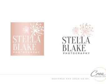 Fashion shop logo, Dandelion logo design, Rose-gold logo, Blog logo, Premade logo, Photography logo, Modern logo, Brand logo design #568