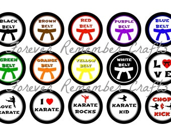 INSTANT DOWNLOAD Karate 1 Inch Bottle Cap Image Sheets *Digital Image* 4x6 Sheet With 15 Images