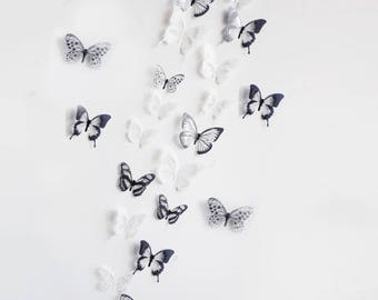 18 butterflies, 3D, black / white