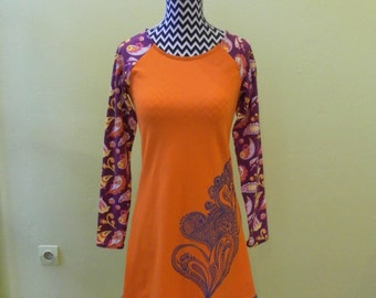 Bio cotton coloured tunic handmade