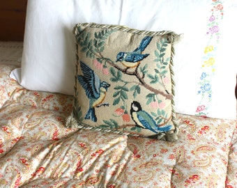 Vintage velvet floral bird print embroidered needle point cushion