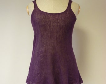 Special price, casual purple linen top, L size.