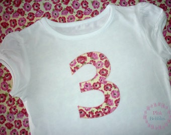 Poppy 3rd birthday t-shirt - poppies birthday top - no.3 top - girl's t-shirt - birthday outfit - pink flower t-shirt - girly floral outfit