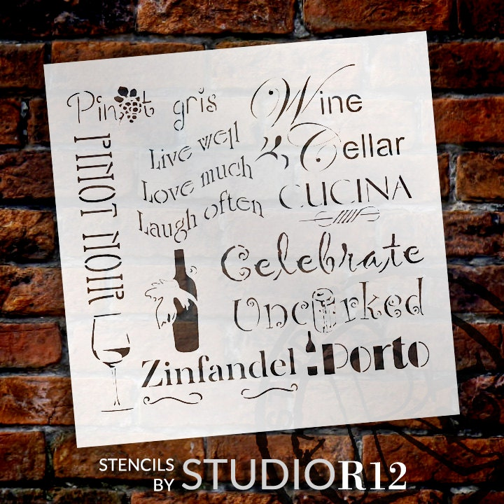 Celebrate Wine-Background Word Stencil-Select Size- STCL696 - by StudioR12