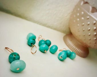 Turquoise and Rose Gold Stitch markers, handmade (set of 3)