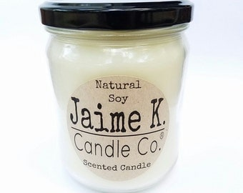 One Pound Jar Candle Made With Soy Pick Your Scent Dye Free