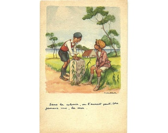 French Francisque Poulbot lllustrated Postcard, Colored Titis Parisian Child Post Card, Humor Illustration Collectible Card