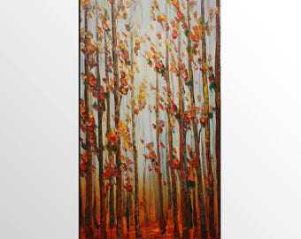 Landscape Painting, Canvas Art, Abstract Art, Large Canvas Painting, Canvas Painting, Living Room Wall Art, Wall Art, Birch Tree Painting