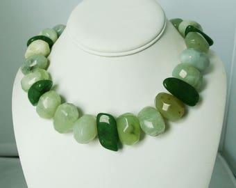 Huge Green New Jade Prehnite Sterling Silver Necklace