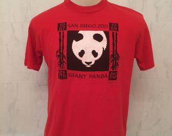 80s San Diego Zoo Giant Panda tshirt, Stedman 100% cotton, Size XL 46-48, Made in USA