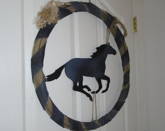 Western Rope with with grey horse, rope is wrapped with grey painted burlap ribbon.
