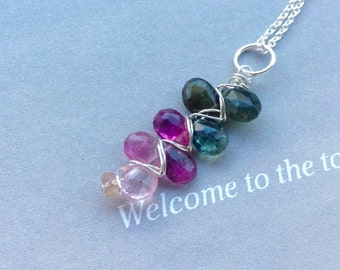 Watermelon Tourmaline Pendant,Tourmaline  necklace, October birthstone, sterling silver, gold filled, natural gemstone