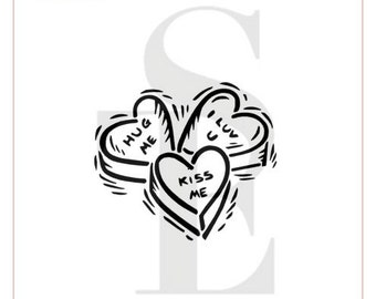 Valentine Conversation Hearts PYO Stencil