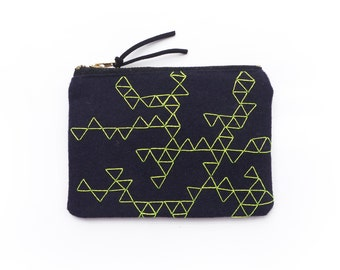 Small hand embroidered coin purse - the triangles