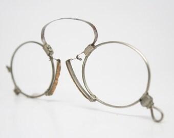 Antique Spring Bridge Pince Nez Eyeglasses Vintage Glasses