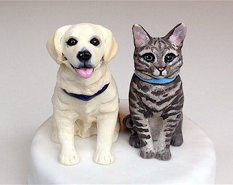 wedding cake toppers with dogs and cats cake topper etsy 26631
