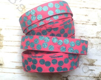 """7/8"""" Turquoise Glitter Silly Dots on Shocking Pink USDR grosgrain ribbon summer ice cream collection"""