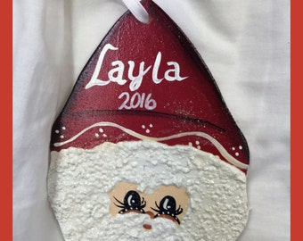 Hand-painted Santa Christmas Ornament Personalized