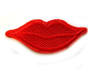 Embroidered Lips Patch Appliqué