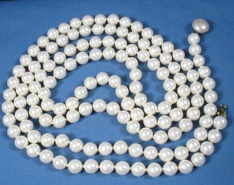 Vintage Long Strand of Pearls - Costume Jewelry