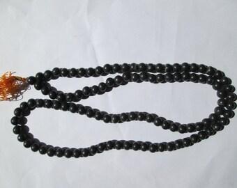 WholesaleGemShop-Black jasper 8 MM 108 beads prayer japa mala with Free Shipping