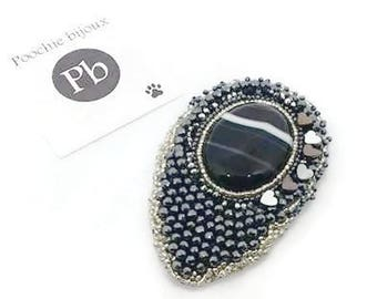 Moon light Brooch-handmade brooch with artistic embroidery beads Hematite heart ready for dispatch black grey
