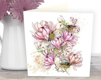 Magnolia card from an original floral illustration. Nature cards of beautiful spring flowers in pink.